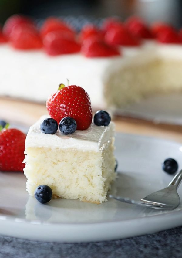 Delicious, simple white cake recipe with smooth buttercream frosting