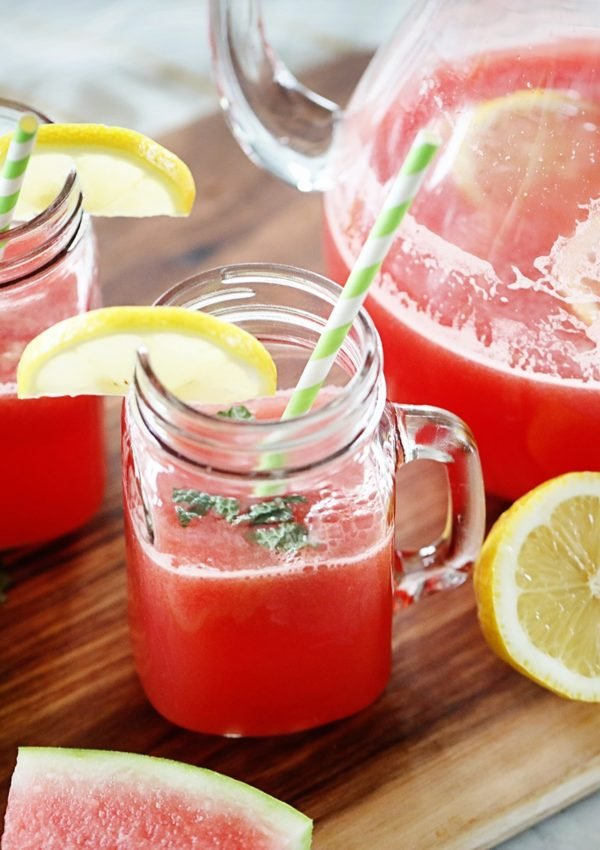 Watermelon Lemonade Recipe with mint