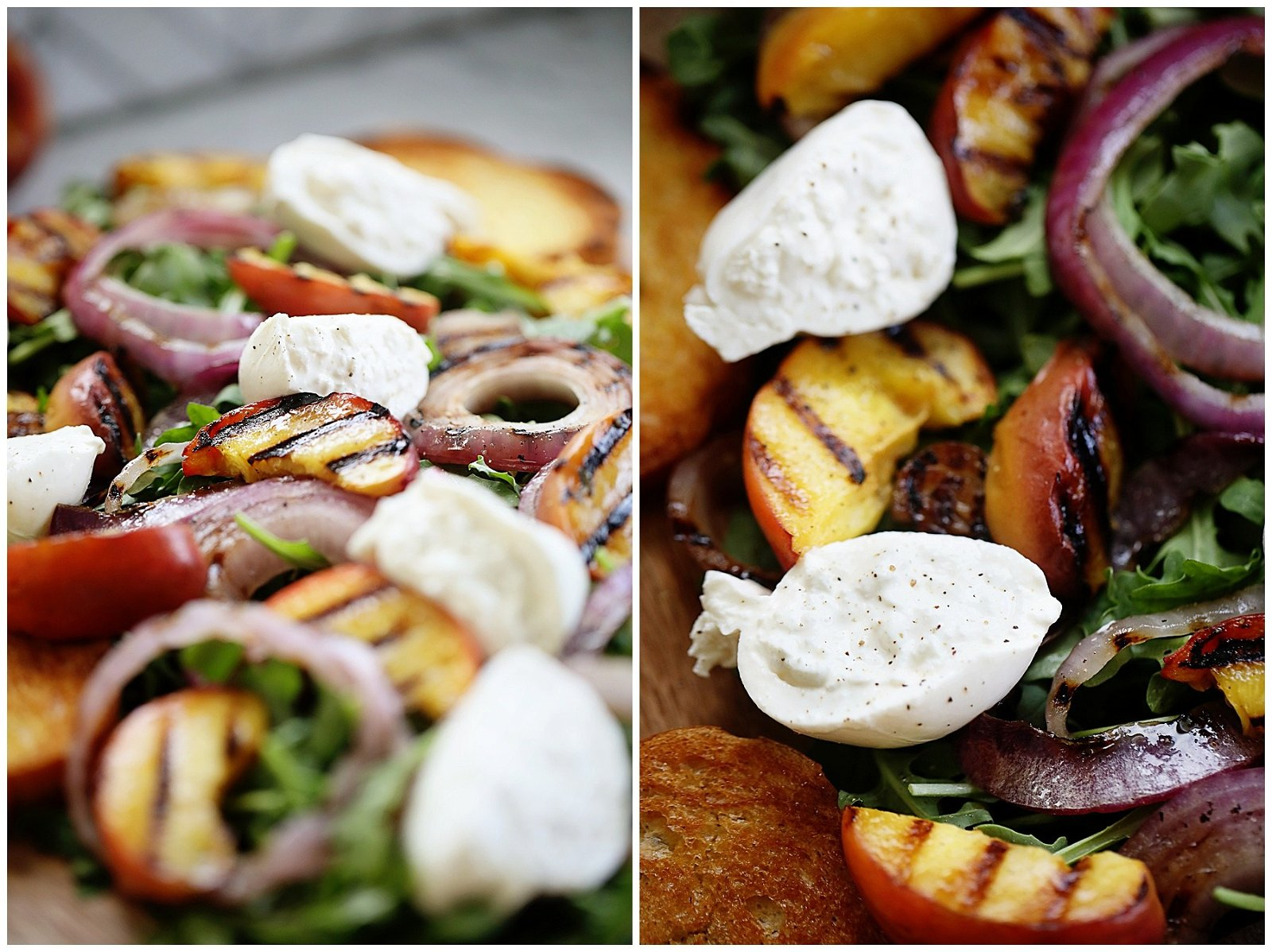 Peach and Arugula Salad with burrata and grilled onions