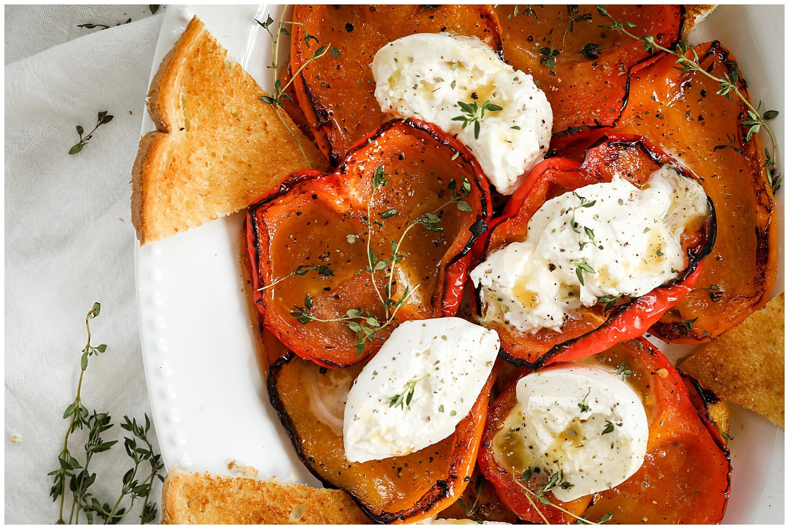 roasted peppers and burrata salad