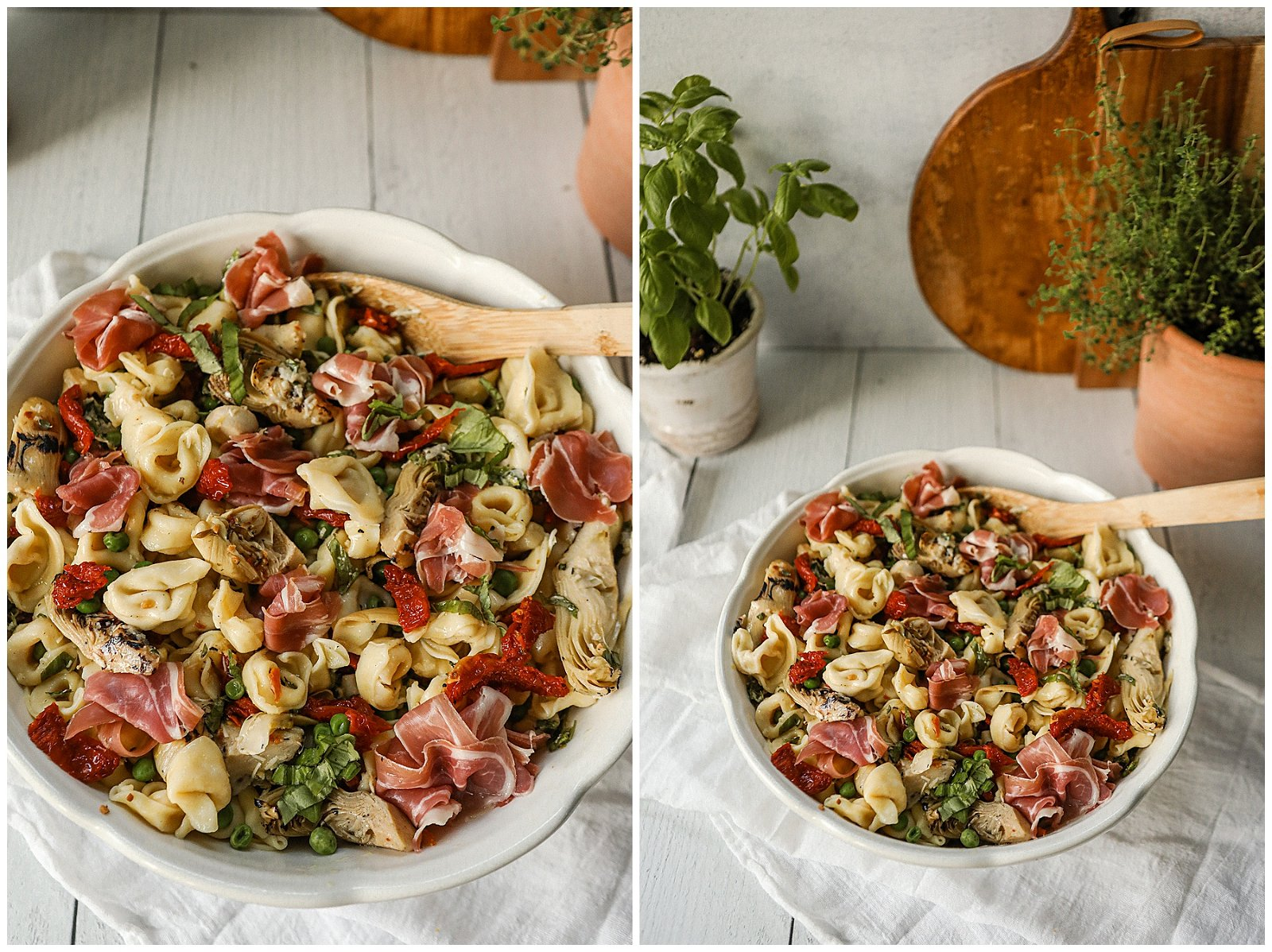 Tortellini Pasta Salad with sun-dried tomatoes and prosciutto