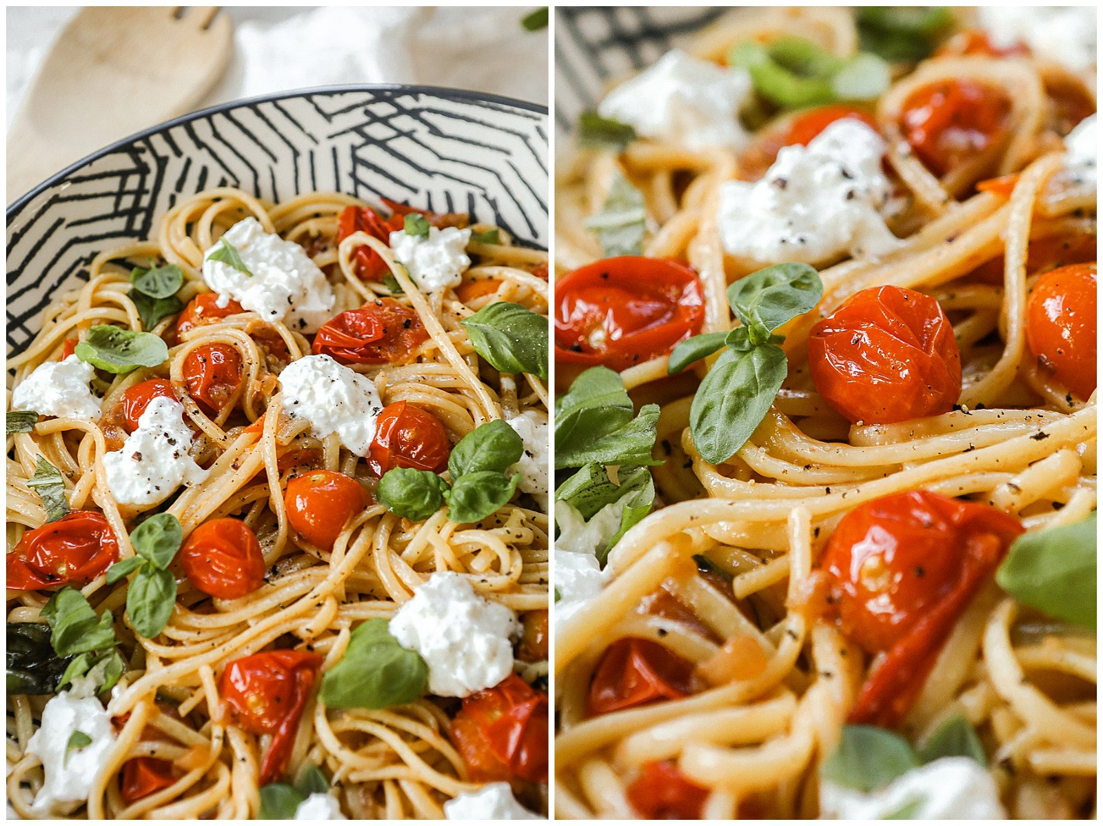 White Wine Butter Sauce Pasta with blistered tomatoes