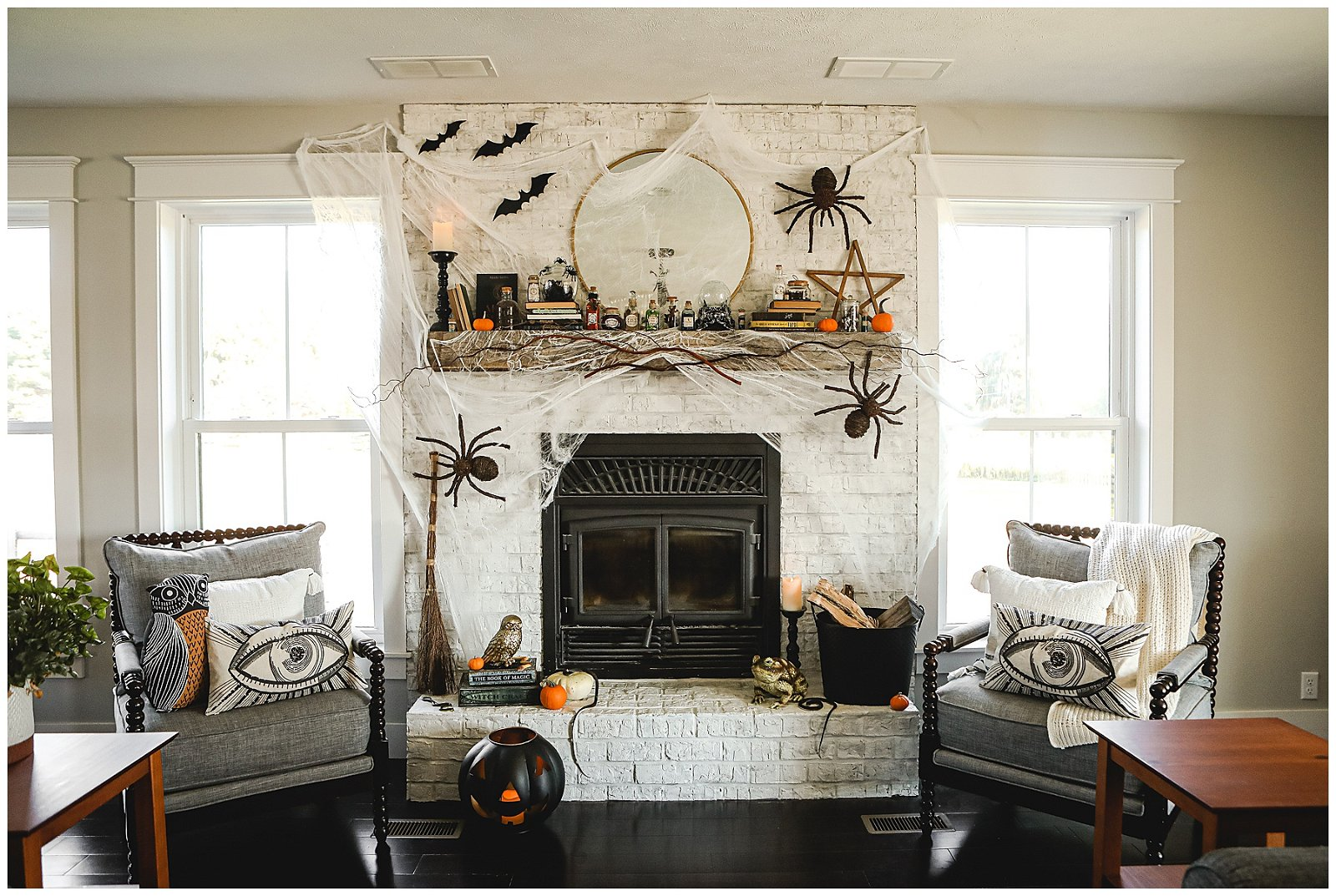 Witchy Halloween Fireplace Decor