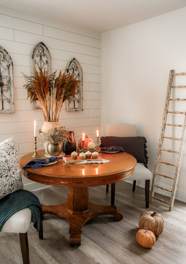 Neutral fall tablescape for a small space
