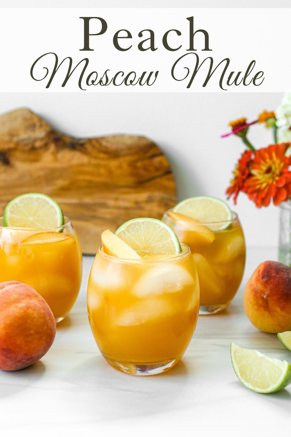 Peach Moscow Mule with cinnamon simple syrup