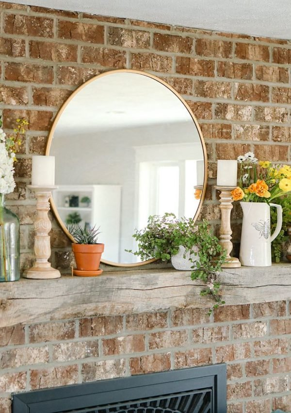 Modern Farmhouse Spring Fireplace Décor Ideas
