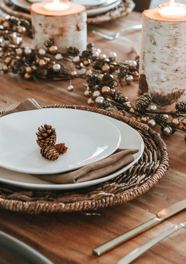 Woods and whites holiday tablescape