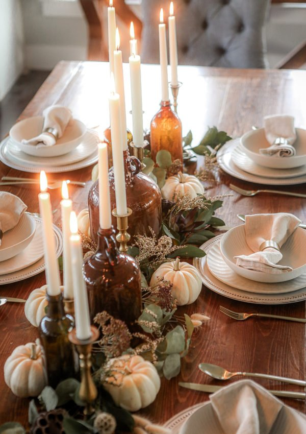 Our rustic Thanksgiving table